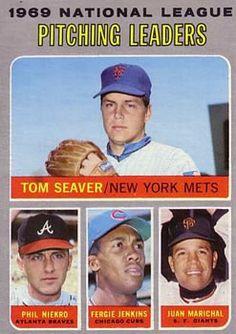 1970 Topps #69 N.L. Pitching Leaders (Tom Seaver, Phil Niekro, Fergie Jenkins, Juan Marichal)