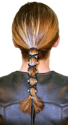 Medium Inch Leather Lacer - My hair - Motorrad Motorcycle Hairstyles, Getting A Perm, Permed Hairstyles, Medium Hairstyles, Hair Knot, Air Dry Hair, Types Of Curls, Hair Accessories For Women, Leather Accessories
