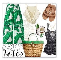 """Banana Leaf Tote Bag"" by cherry95 ❤ liked on Polyvore featuring Victoria's Secret, Dolce&Gabbana and beachtotes"