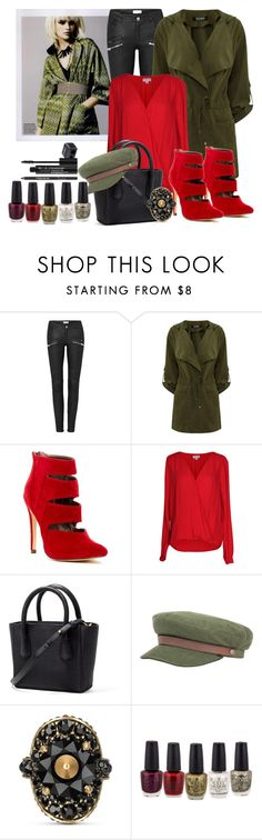 """""""Green coat, Red shoes"""" by janie-xox ❤ liked on Polyvore featuring Michael Antonio, Velvet by Graham & Spencer, Brixton, Gucci, Rodial, RedShoes and greencoat"""