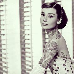 Audrey Hepburn  with added tattoos, Cheyenne Randall, c2013/14