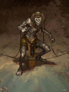 by ZhangQipeng on DeviantArt Fantasy Dragon, Fantasy Rpg, Dark Fantasy, Egypt Concept Art, Tomb Kings, Character Art, Character Design, Egyptian Goddess, Egyptian Mythology