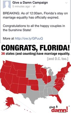 It's just after 11 pm here in Texas but on the East Coast it's right after midnight meaning gay marriage can officially begin in Florida.