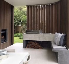 29 Amazing Outdoor Barbeque Areas : 29 Amazing Outdoor Barbeque Areas With White Stone Chair And Cushion And Fireplace Design