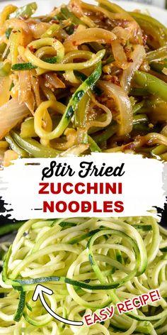 Healthy Noodle Recipes, Zucchini Noodle Recipes, Vegetable Recipes, Vegetarian Recipes, Recipes For Zucchini Noodles, Healthy Zucchini Recipes, Vegan Zoodle Recipes, Stir Fry Zucchini Noodles, Pizza