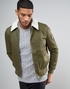 New Look – Harrington-Jacke mit Borg-Kragen in Khaki Harrington Jacket, Asos, New Look, Military Jacket, Fashion Online, Bomber Jacket, Clothes, Shopping, Down Vest