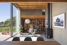 Built In Desk, Built Ins, Floor Slab, Sleeping Loft, Alvar Aalto, Interior Design Magazine, Maine House, Dining Area, A Table