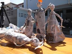This art project was done using trash to create puppets that resembled individuals with disabilities. It would be cool to have a client create a sculpture similar to this. It would be cheap!