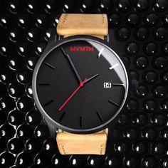 Black/Tan Leather Watch.
