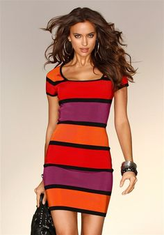 Striped dress from VENUS women's swimwear and sexy clothing. Order Striped dress for women from the online catalog or Robes Western, Western Dresses, Colorblock Dress, Striped Dress, Cute Dresses, Casual Dresses, Knit Dress, Dress Up, Dress Outfits