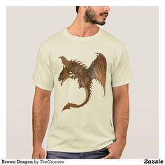 Shop Brown Dragon T-Shirt created by TeeGrooves. Cheap Gifts, Closet Staples, Cheap Fashion, Black And Brown, Fitness Models, How To Become, Dragon, Casual, Fabric
