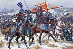 Caballeros de Borgoña con sus armaduras góticas del siglo XV.