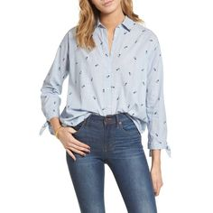 Women's Madewell Trapeze Shirt ($72) ❤ liked on Polyvore featuring tops, pineapple deep navy, blue shirt, cotton shirts, blue print top, cuff shirts and shirt top