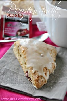 Pomegranate Scones- delicious scones make with fresh POMS and Bigelow tea Mitchell Mitchell Wang Sweets Brunch Recipes, Dessert Recipes, Sweets Recipe, Scone Recipes, Baking Scones, Savory Scones, Shugary Sweets, Cupcakes, Dessert Bread