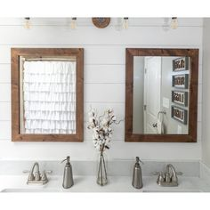 Laurel Foundry Modern Farmhouse 2 Piece Samara Cottage Mirror Set Finish: Brown The Effective Pictures We Offer You About unique bathroom mirror A quality picture can tell you Cottage Bathroom Mirrors, Unique Bathroom Mirrors, Distressed Bathroom Vanity, Farmhouse Mirrors, Farmhouse Vanity, Modern Farmhouse Bathroom, Master Bathroom, Gold Bathroom, Farmhouse Style