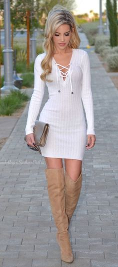 /roressclothes/ closet ideas #women fashion outfit #clothing style apparel white little sweater dress