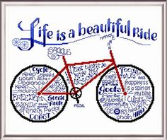 Lets Ride Bicycles, 'words' cross stitch pattern designed by Ursula Michael.