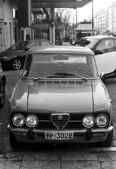 This. Iconic. Alfa Romeo Giulia Nuova Super 1300 (1974-1977). Alexandras ave., Athens, Greece, 2014. Note 1. This is NOT our family Giulia. This is usually parked halfway between where I work and where my father used to live (and where I now live) and next to the restaurant where I used to have lunch with my father. So, before my father passed away, we had several times seen her and discussed her, expressing our respect for the unknown owner who keeps her up and running. Our family Giulia…