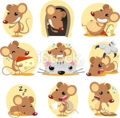 Mouse action set Royalty Free Stock Vector Art Illustration