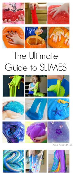 DIY 21 Slime Recipes from Fun at Home with Kids. I've posted some of these recipes but this is a really good roundup. Just a few out of the 21 are: • Rainbow Slime • Galaxy Slime • Glitter Goo • Molten Lava Slime • Homemade Flarp