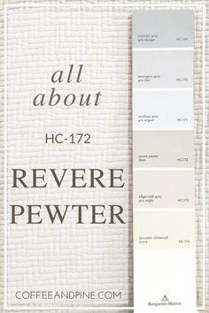 paint color, benjamin moore, revere pewter, paint color scheme, gray paint colors. www.coffeeandpine.com