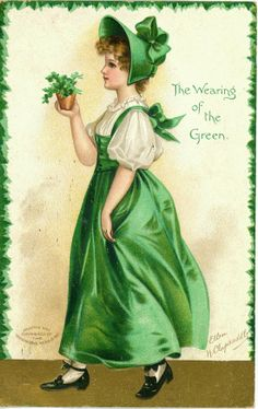 These are lovely Free St Patricks Day Clip Art Lady Images! Shown are several vintage postcards showing women in their finest Green outfits for St Pat's! Vintage Greeting Cards, Vintage Ephemera, Vintage Postcards, Vintage Paper, St Patrick's Day, Graphics Fairy, Fete Saint Patrick, St Patricks Day Cards, Decoupage