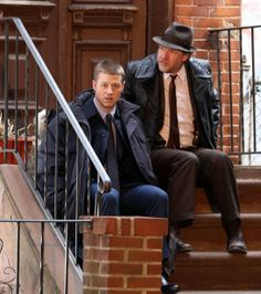 The latest set photo of the upcoming TV series shows Detectives James Gordon (Ben McKenzie) and Harvey Bullock (Donal Logue) having a discussion. Growing up in Gotham City's surrounding suburbs, […] Bullock Gotham, Harvey Bullock, Gotham Tv Series, Gotham Cast, Benjamin Mckenzie, Jim Gordon, Joker Poster, Grey Knights, Marvel Comic Character