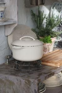 enameled cookware ~ rustic kitchen