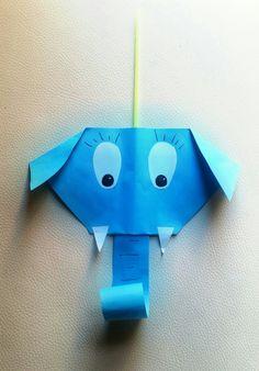 Elefante con papel y pajita. Ideal para soplar!!
