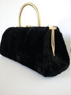 4c292e24fea1 Rare exquisite black faux fur purse with brass handle. Exceptional sturdy  vintage condition. Images