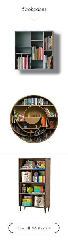 """""""Bookcases"""" by gracekathryn ❤ liked on Polyvore featuring furniture, home, books, storage & shelves, bookcases, display bookcase, blue bookcase, display furniture, gilding furniture and book shelves"""