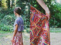 braided crown, printed vintage maxi skirt, cropped tee