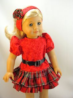 OOAK Ruffle Holiday Dress for 18 inch dolls by jillsfabricdesigns, $20.00