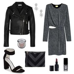 Get the party started in a sparkly dress paired with a leather moto jacket and sleek heels.