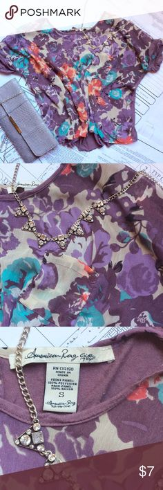 American Rag Cie Crop Top Beautiful Floral Crop Top! The back panel in rayon shows some wear, reflective in the price😉 American Rag Tops Crop Tops