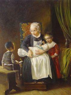 Elena Flerova -Mother with Kids- Jewish Art Oil Painting