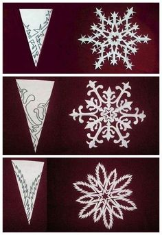 Patterns to cut fancy snowflakes from folded paper.  snowflakes by stacyn3