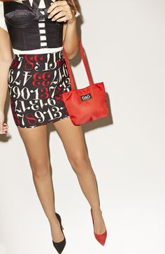 DKNY Tee, Moschino Numbers Game Pencil Skirt, Dolce, Versace Erotica Leather Bustier & Gabbana Well Red Tote #nastygalvintage