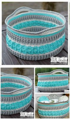 I am going to show you some crochet basket patterns which will increase your home décor!Textured Crochet Basket Free Pattern