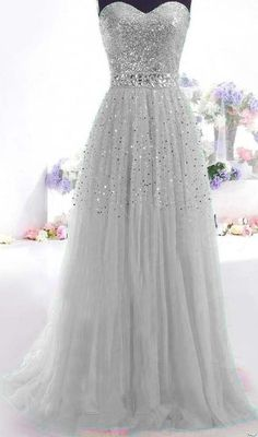 Gray Long Prom Dress Paillette Tulle Party Ball Formal Gowns SIZE2.4 6 8 10 #Unbranded #Formal 2015 prom dresses, prom dress
