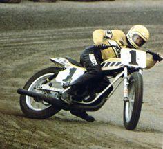 Kenny Roberts #1 racing his 360 Yamaha on a Short Track.