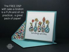 handmade card ... paper piecing for vases ... same patterned paper used to line envelope ... Stampin' Up!