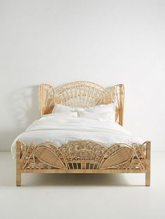 Beds/headboards - This spring, the Kinsella Rattan Bed lends a pleasantly vintage, decorative ease to your bedroom, via its feminine filigree and expansively fanned headboard. Rattan Furniture, New Furniture, Online Furniture, Bedroom Furniture, Mattress Dimensions, Headboards For Beds, Wicker Headboard, Home Accessories, Decoration