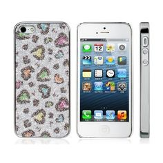 Leopard Print Glitter Plated Case for iPhone 5 (Purple) from shopbob