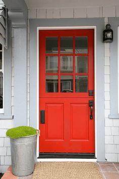 bright red front door, pantone flame, black door hardware