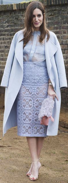 Try an all-lavender outfit this Spring - how amazing do pastels feel right now? #lilac #Laceskirt