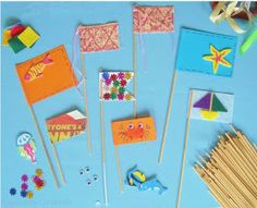 DIY Sandcastle Flags with Round Lolly Sticks, Paper, Card , Fabric