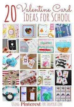 20 Valentine's Day Card Ideas for School inspired by Popular Pins on Pinterest.  Create this DIY crafts to bring to the Valentine Party this year.