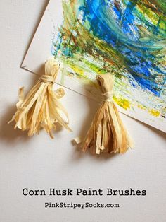 how to make corn husk paint brushes November Preschool Themes, Preschool Arts And Crafts, Painting Activities, Craft Activities, Kid Art, Art For Kids, Rain Cycle, Corn Husk Crafts, How To Make Corn