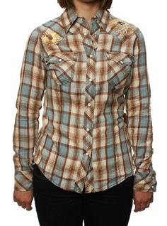 f20888c054a99 True Religion Women`s Foil Crystal Plaid Cowgirl Button Down Shirt Blue -  List price